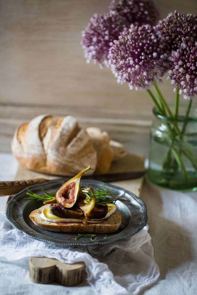 Baked Figs with Rosemary & Honey, with Lord London Cheese on Sourdough