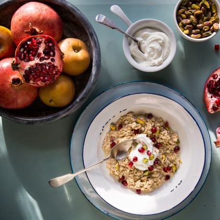 Spiced Pomegranate & Pistachio Bircher Muesli