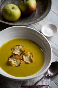 Spiced Parsnip & Apple Soup with Parsnip Crisps